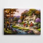 Ağaç Çiçekler Dere ve Ev Kartpostal Kanvas Tablo