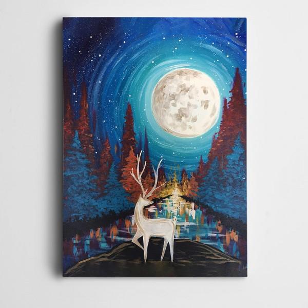 Geyik Ağaçlar Ay Işığı Yıldızlar Kanvas Tablo