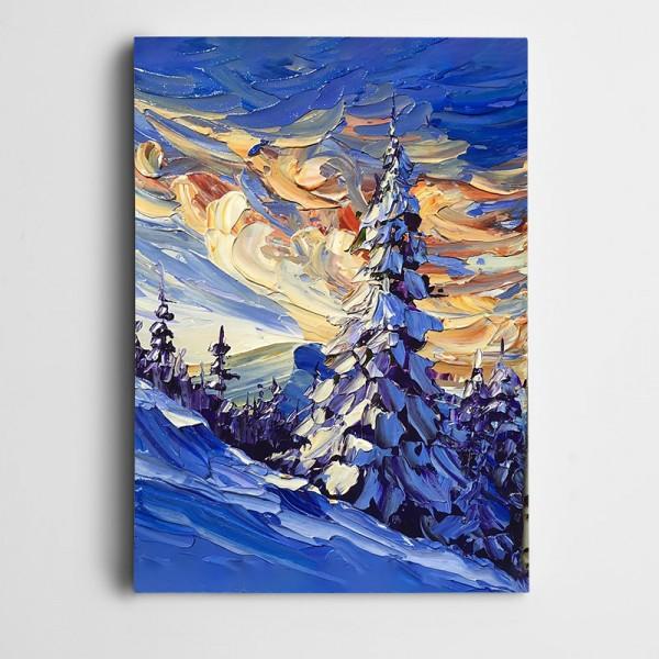 Karlı Çam Ağacı Yağlı Boya Kanvas Tablo