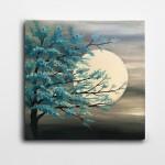 Turkuaz Renkli Yapraklar Ay Işığı Kare Kanvas Tablo