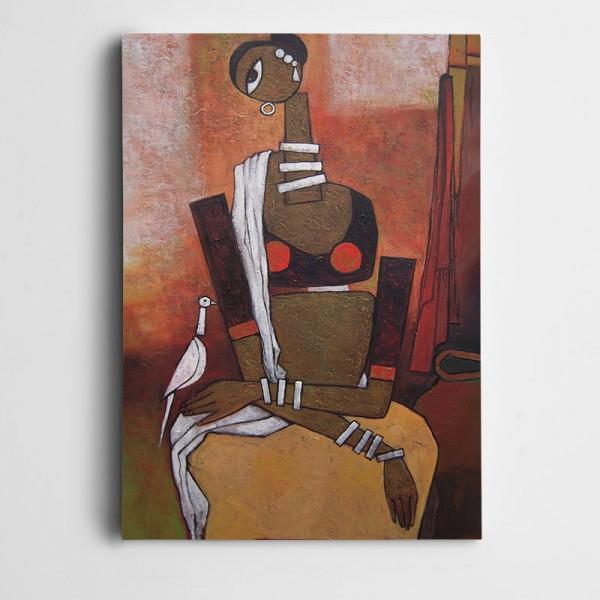 Afrikalı Kadın Dekoratif Kanvas Tablo