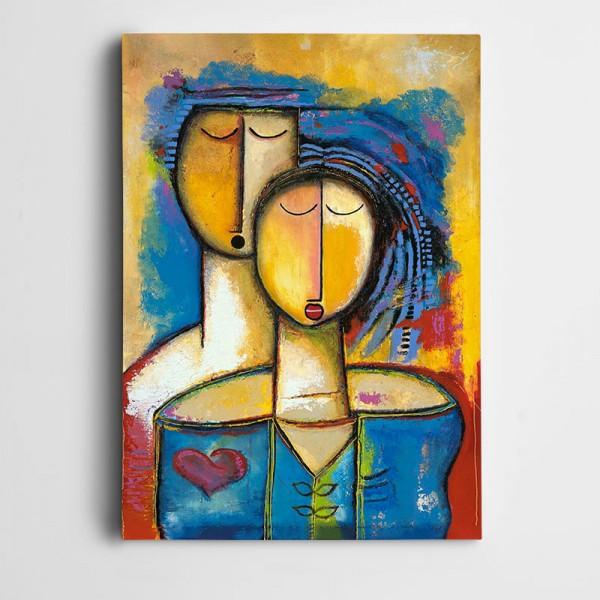 Sevgililer Çizim Dekoratif Kanvas Tablo
