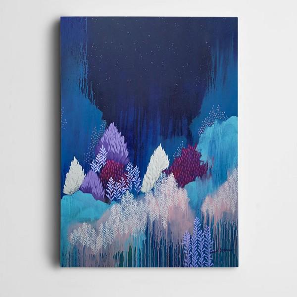 Renkler Ağaçlar Yıldızlar Kanvas Tablo