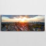 Binalar Ağaçlar Evler ve Yol Şehir Manzarası Panoramik Kanvas Tablo