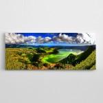 Bulutlar ve Yeşillik Manzara Panoramik Kanvas Tablo