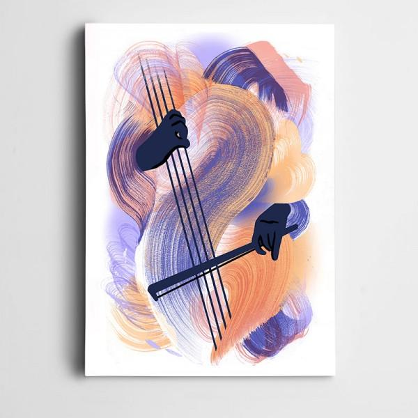 Yaylı Çalarken Dekoratif Kanvas Tablo