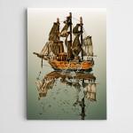 Ağaç Gemi ve Gölgesi Modern Sanat Kanvas Tablo