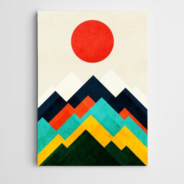Dağlar ve Güneş Modern Sanat Kanvas Tablo