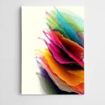 Beyaz Fonda Renkli Yapraklar Modern Sanat Kanvas Tablo