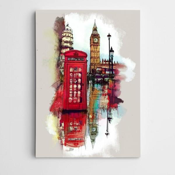 Telefon Kulübesi ve Şehir Modern Sanat Kanvas Tablo