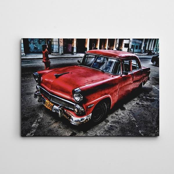 Klasik Kırmızı Otomobil Kanvas Tablo