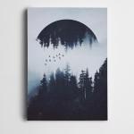 Orman Ay ve Kuşlar Kanvas Tablo