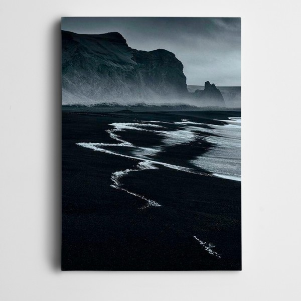 Sahil Kayalıklar Siyah Beyaz Kanvas Tablo
