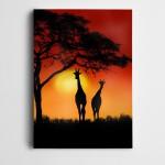 Zürafalar Güneş Gün Batımı Kanvas Tablo
