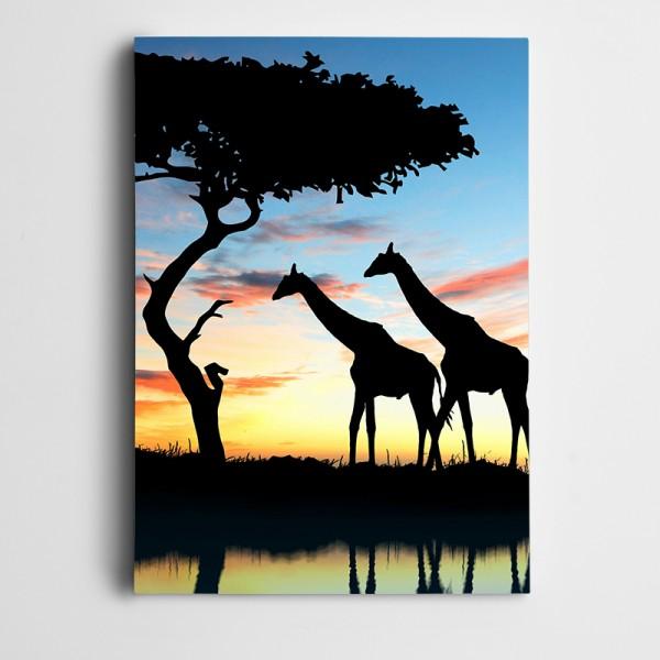 Zürafalar Silüet Kanvas Tablo