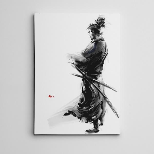 Samuray ve Kılıçlar Mini Kanvas Tablo