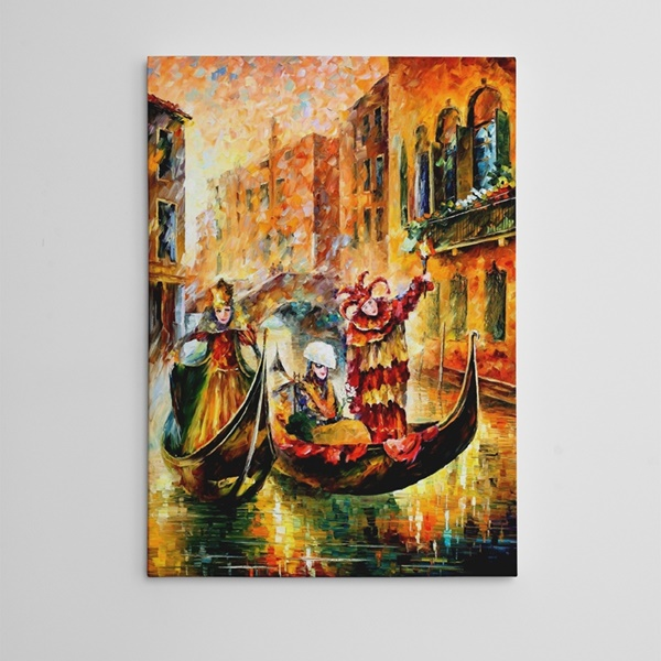 Kadınlar Gondol ve Meşale Yağlıboya Reprudüksiyon Kanvas Tablo