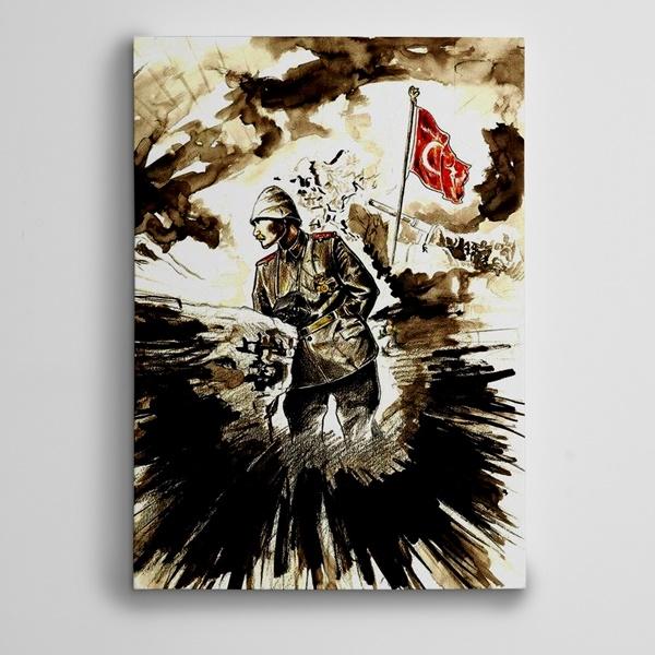 Atatürk Cephe ve Türk Bayrağı Kanvas Tablo