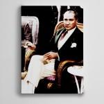 Atatürk Türk Kahvesi İçerken Kanvas Tablo