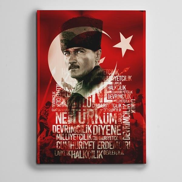 Atatürk ve İlkeler Kanvas Tablo
