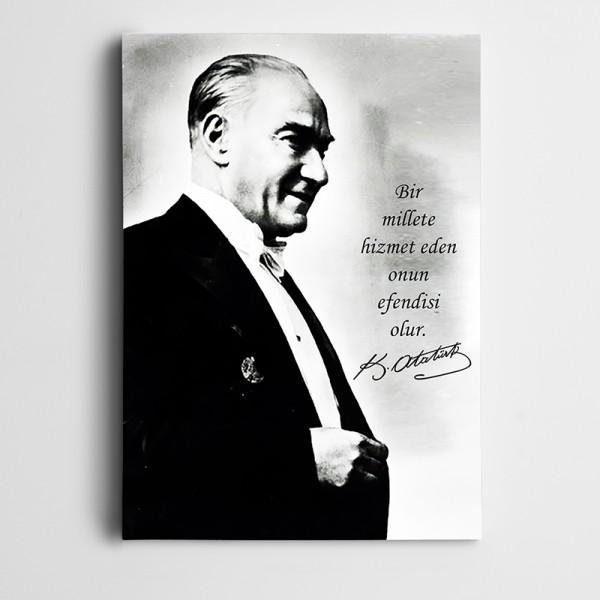 Atatürk Efendilik Hizmettedir Kanvas Tablo