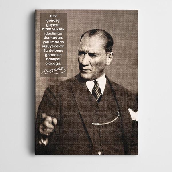 Atatürk Gençliğe Hitabe Kanvas Tablo