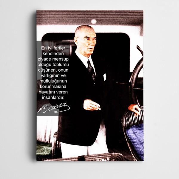 Atatürk Gerçek Fedakarlık Kanvas Tablo