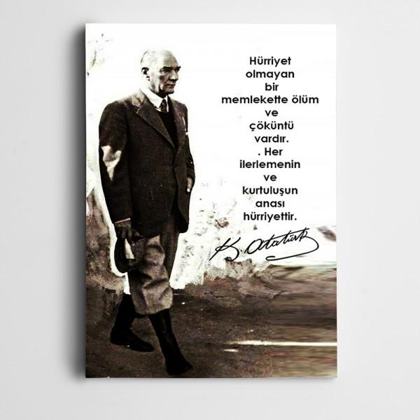 Atatürk Memleket ve Hürriyet Kanvas Tablo