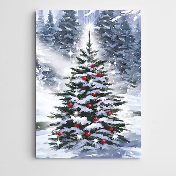 Karlı Çam Ağacı Kanvas Tablo
