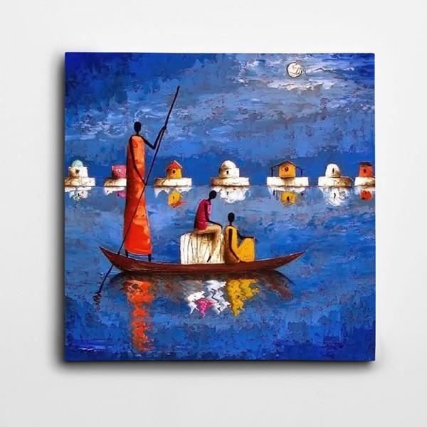 Afrikalı Stil Göl Kare Kanvas Tablo