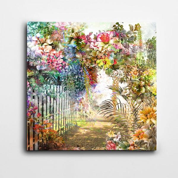 Renkli Çiçekler Kare Kanvas Tablo