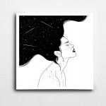 Siyah Beyaz Yıldız Kadın Kare Kanvas Tablo