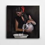 Su Dolduran Kadın Kare Kanvas Tablo