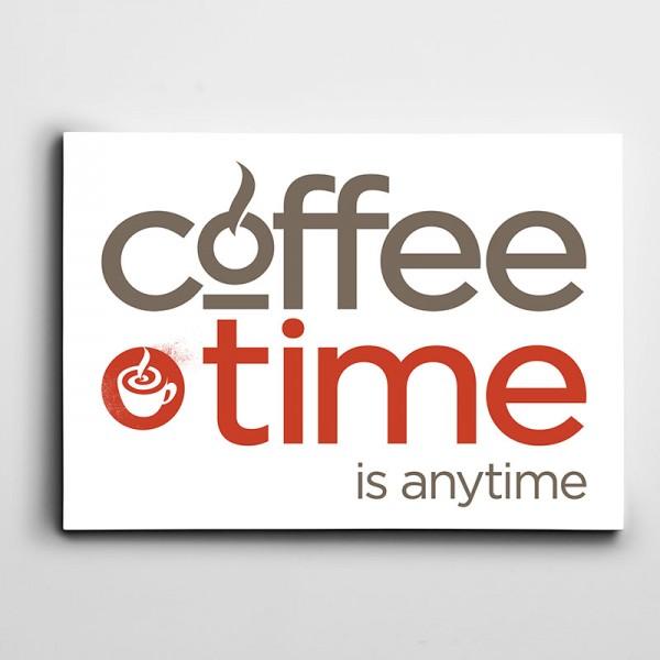 Kahve Zamanı Yazılı Kanvas Tablo