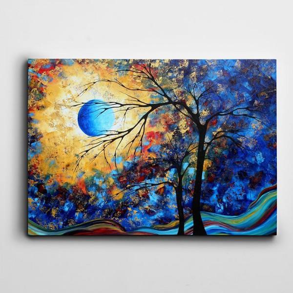 Ağaç Ve Mavi Ay Kanvas Tablo