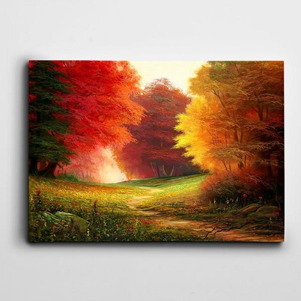 Renkli Ağaçlar Ve Orman Kanvas Tablo
