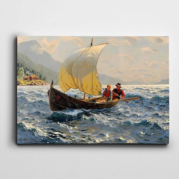 Yelkenli Gemide İnsanlar Kanvas Tablo