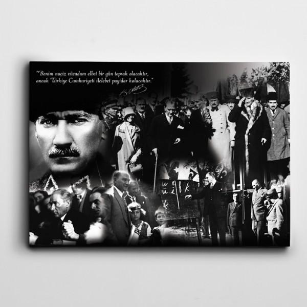 Atatürk Kolaj Kanvas Tablo