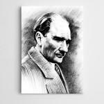 Atatürk Siyah Beyaz Portre Kanvas Tablo