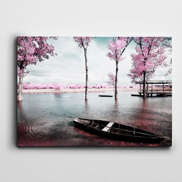 Göl ve Kayık Kanvas Tablo