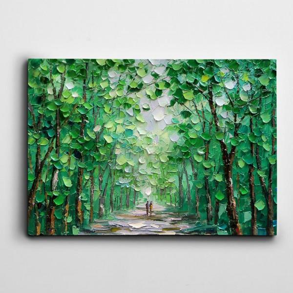Yeşil Ağaçlar Yağlıboya Reprodüksiyon Kanvas Tablo