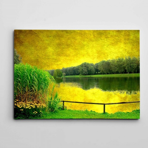 Ağaçlar ve Göl Kanvas Tablo