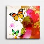 Kelebek ve Çiçekler Kare Kanvas Tablo