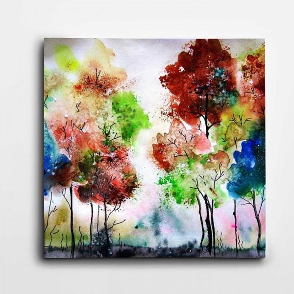 Renkli Ağaçlar Modern Kare Kanvas Tablo