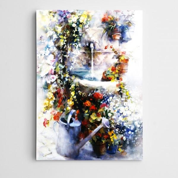 Çiçekler ve Çeşme Kanvas Tablo