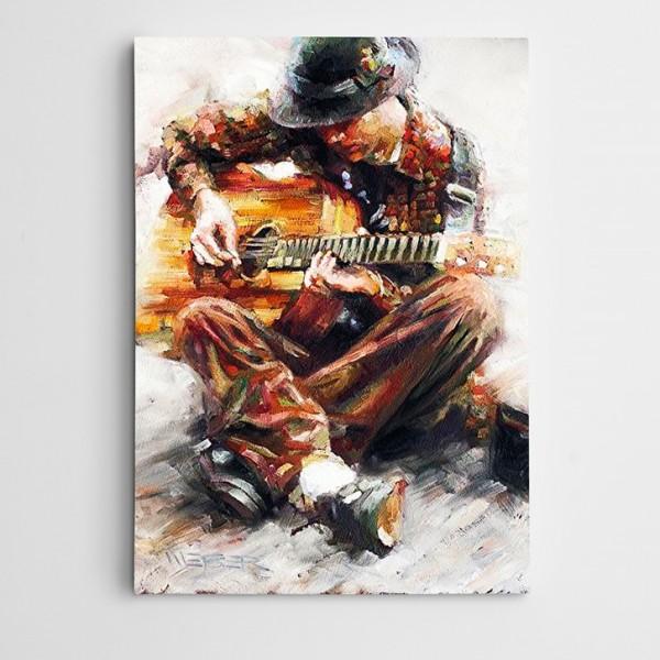 Gitar Çalan Adam Modern Sanat Kanvas Tablo