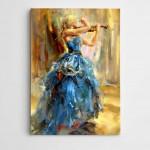 Keman Çalan Kadın Modern Sanat Kanvas Tablo