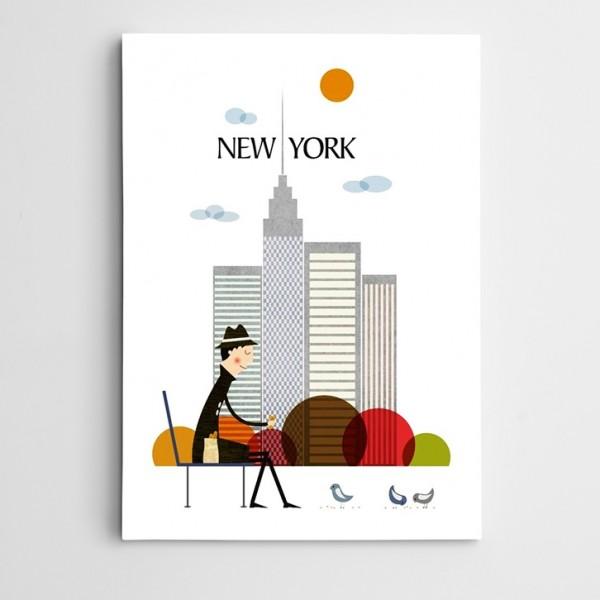 New York Çizim Kanvas Tablo