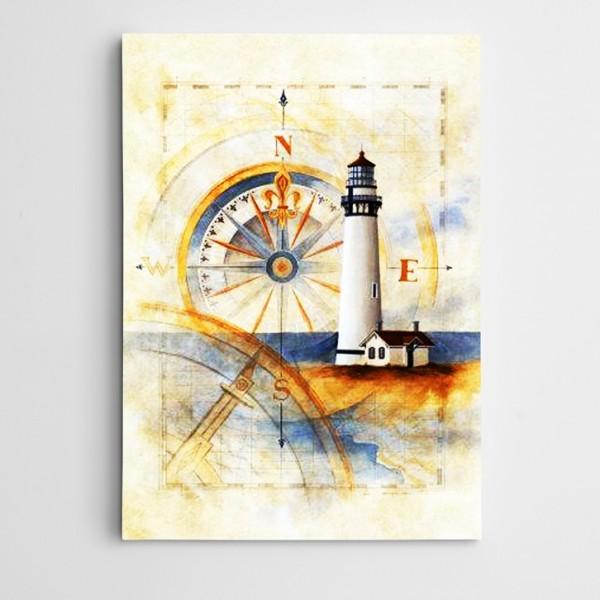 Pusula ve Deniz Feneri Kanvas Tablo