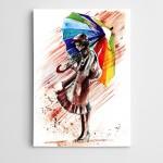 Renkler Şemsiye Modern Sanat  Kanvas Tablo